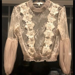 Juniors Tan Lace Blouse -Size Small (2-4)